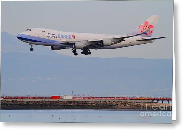 Airplane Landing Greeting Cards - China Airlines Cargo Jet Airplane At San Francisco International Airport SFO . 7D12299 Greeting Card by Wingsdomain Art and Photography