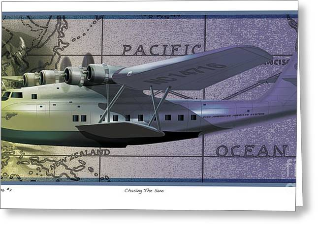 Airplane Greeting Cards - China Clipper Chasing The Sun Greeting Card by Kenneth De Tore