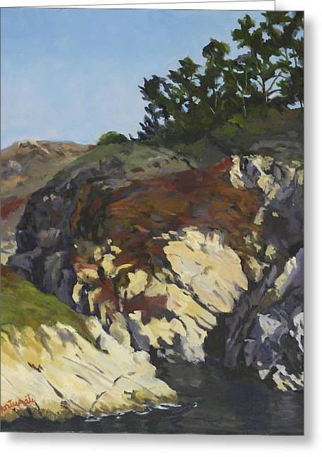 Recently Sold -  - China Cove Greeting Cards - China Cove Cliffs Greeting Card by Marian Fortunati