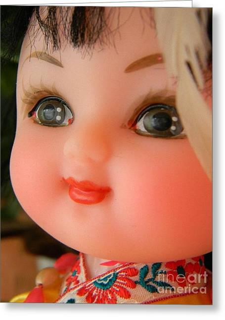 Doll Greeting Cards - China Doll Greeting Card by Anita V Bauer