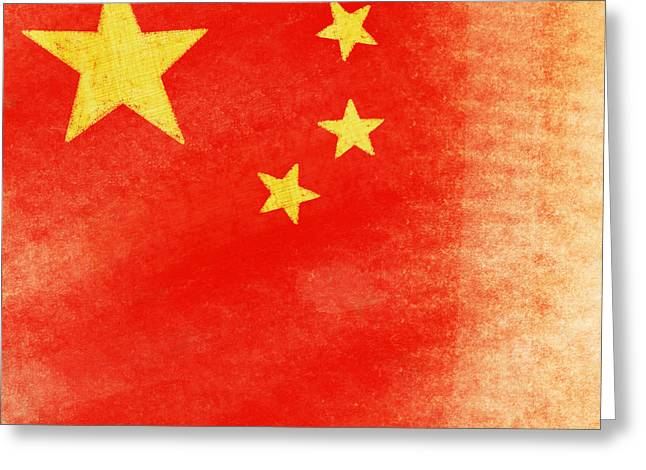 Symbolic Digital Art Greeting Cards - China flag Greeting Card by Setsiri Silapasuwanchai
