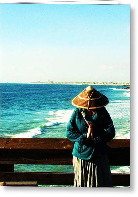 China Beach Greeting Cards - China Hat in Newport 2 Greeting Card by Ladibug Love