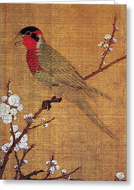 Handscroll Greeting Cards - China: Parakeet Greeting Card by Granger