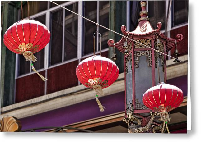 Paper Lantern Greeting Cards - China Town San Francisco Greeting Card by Kelley King