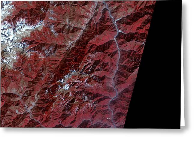 Sichuan Province Greeting Cards - Chinas Sichuan Province Greeting Card by Nasa