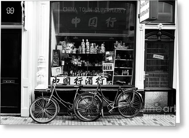 Amsterdam Market Greeting Cards - Chinatown Bikes Greeting Card by John Rizzuto