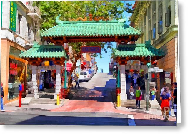 Chinese Shop Greeting Cards - Chinatown Gate In San Francisco . 7D7139 Greeting Card by Wingsdomain Art and Photography