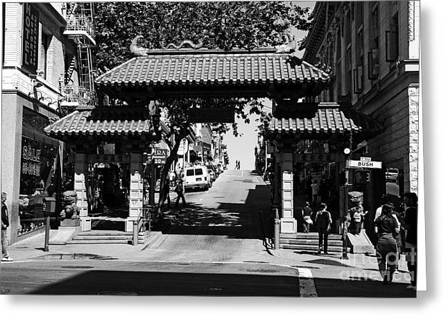 Chinese Shop Greeting Cards - Chinatown Gate In San Francisco . bw . 7D7139 Greeting Card by Wingsdomain Art and Photography