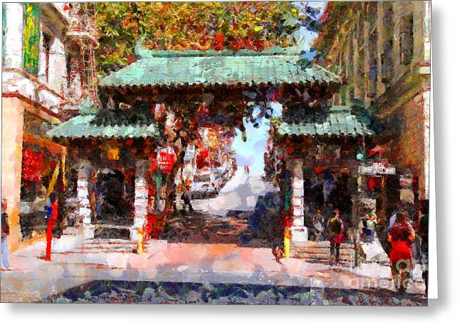 Downtown San Francisco Greeting Cards - Chinatown Gate In San Francisco . Painterly . 7D7139 Greeting Card by Wingsdomain Art and Photography