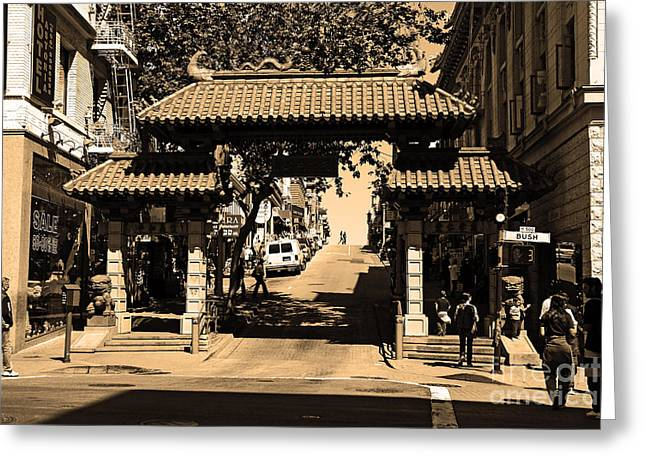 Chinese Shop Greeting Cards - Chinatown Gate In San Francisco . sepia . 7D7139 Greeting Card by Wingsdomain Art and Photography
