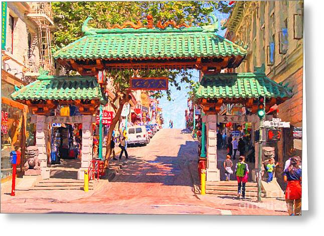 Chinese Shop Greeting Cards - Chinatown Gate In San Francisco Greeting Card by Wingsdomain Art and Photography