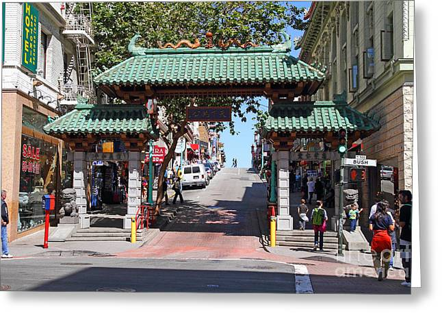 Grant Street Greeting Cards - Chinatown Gate on Grant Avenue in San Francisco Greeting Card by Wingsdomain Art and Photography