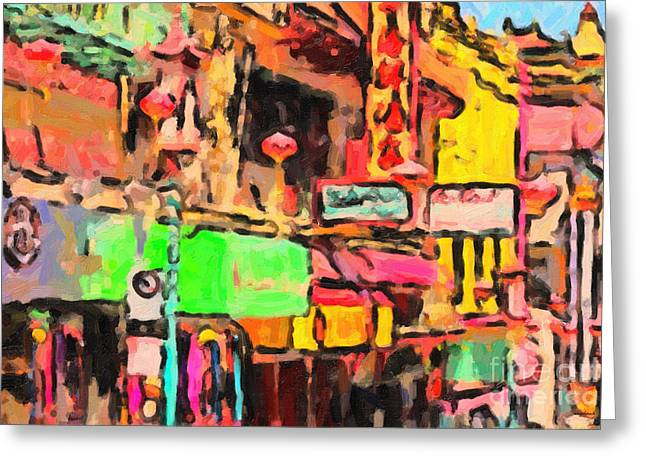 Chinese Shop Greeting Cards - Chinatown in Abstract Greeting Card by Wingsdomain Art and Photography