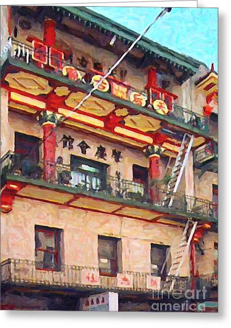 Historical Buildings Digital Art Greeting Cards - Chinatown Greeting Card by Wingsdomain Art and Photography