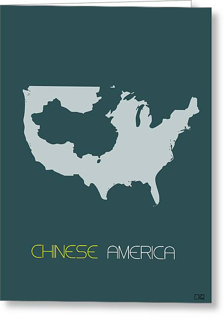 China Greeting Cards - Chinese America Poster Greeting Card by Naxart Studio