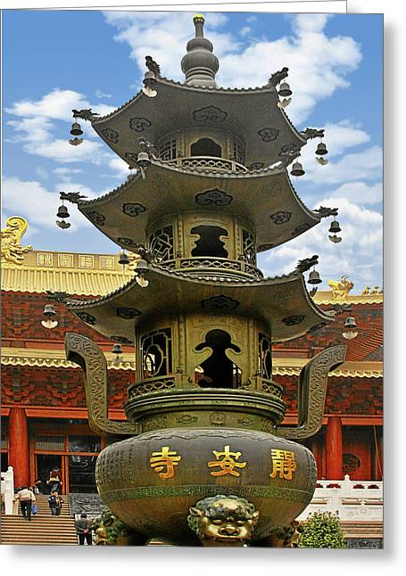Kettle Greeting Cards - Chinese Ancient Relics - Bronze Cauldron Jingan Temple Shanghai Greeting Card by Christine Till