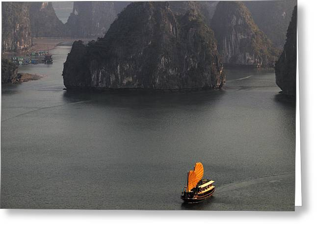 Sailboats In Water Greeting Cards - Chinese Boat With Orange Sails Greeting Card by Skip Nall
