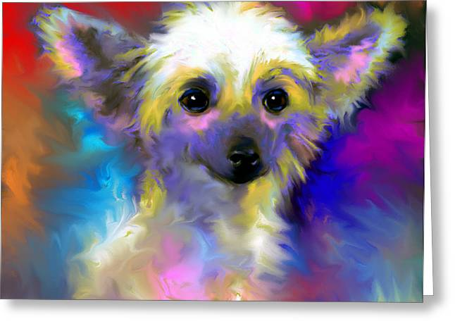 Puppies Print Greeting Cards - Chinese Crested Dog puppy painting print Greeting Card by Svetlana Novikova