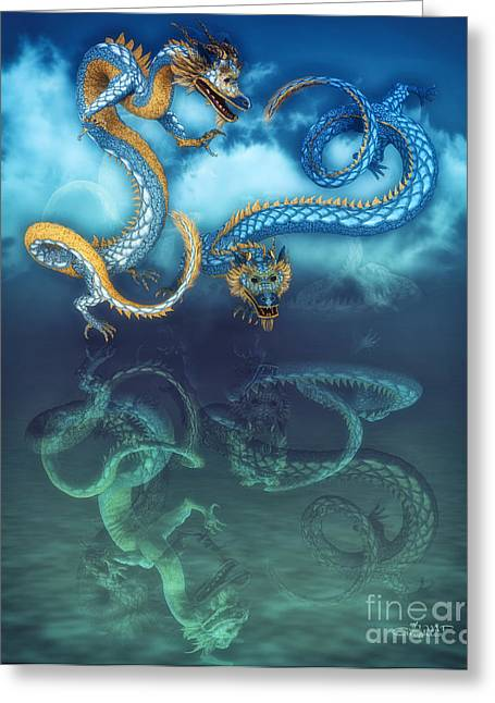 Reflexions Greeting Cards - Chinese Dragon Dance Greeting Card by Jutta Maria Pusl