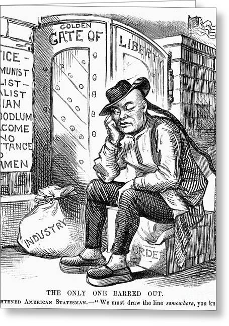 Anti Immigrant Greeting Cards - Chinese Exclusion Act, 1882 Greeting Card by Granger