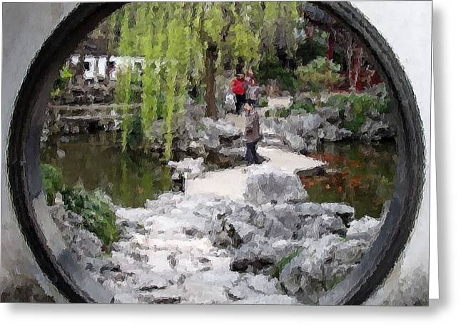 Yuan Dynasty Greeting Cards - Chinese Garden Greeting Card by Jenny Hudson