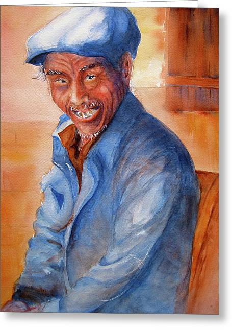Chinese Peasant Greeting Cards - Chinese Gentleman Greeting Card by Myra Evans
