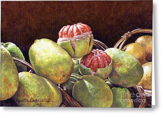 Grapefruit Paintings Greeting Cards - Chinese Grapefruit Greeting Card by Lynette Cook
