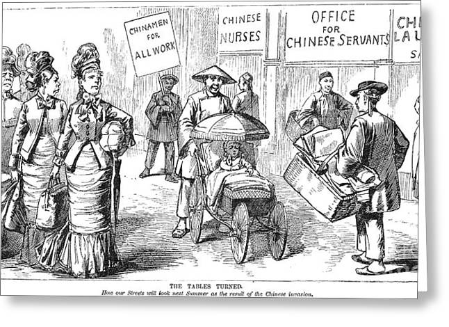 Anti Immigrant Greeting Cards - Chinese Immigrants, 1880 Greeting Card by Granger