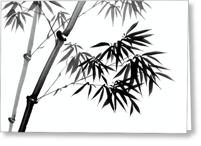 Graceful Drawings Greeting Cards - Chinese Ink Painting of Bamboo Greeting Card by Evelyn Sichrovsky