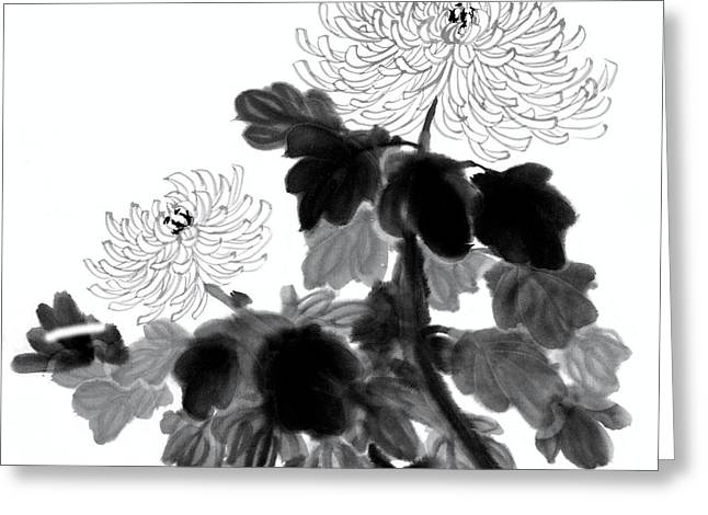 Chinese Ink Painting Of Chrysanthemum Flowers Greeting Card by Evelyn Sichrovsky