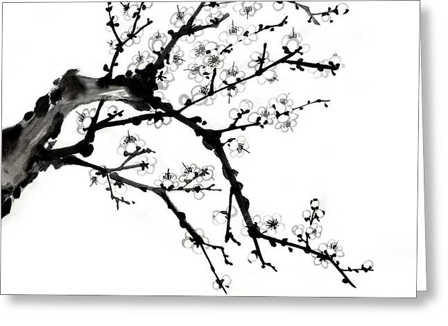 Chinese Ink Plum Blossom Painting Greeting Card by Evelyn Sichrovsky