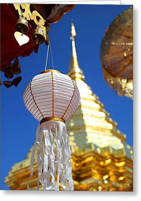 White Photographs Greeting Cards - Chinese Lantern at Wat Phrathat Doi Suthep Greeting Card by Metro DC Photography