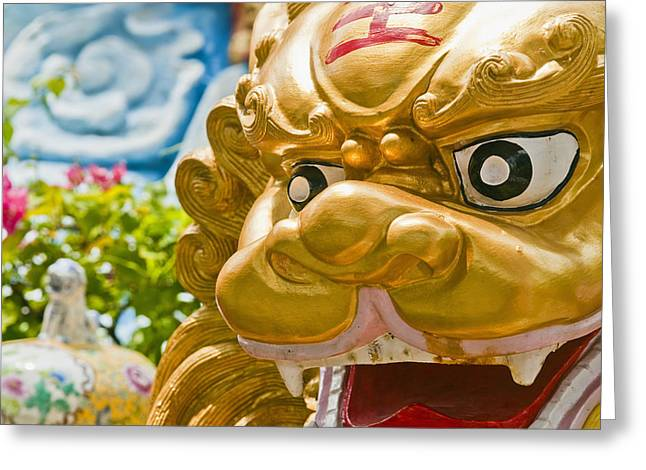 Sacred Spirit Art Photographs Greeting Cards - Chinese Lion Statue Greeting Card by Bill Brennan - Printscapes