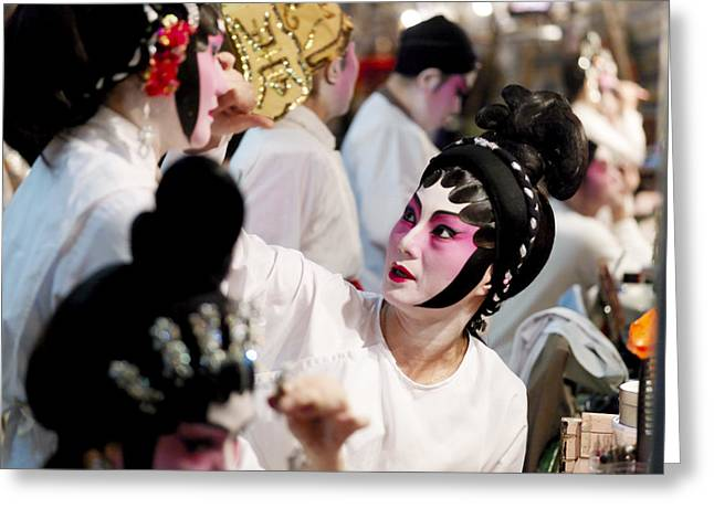 Informal Portraits Greeting Cards - Chinese Opera Performers Prepare Greeting Card by Justin Guariglia