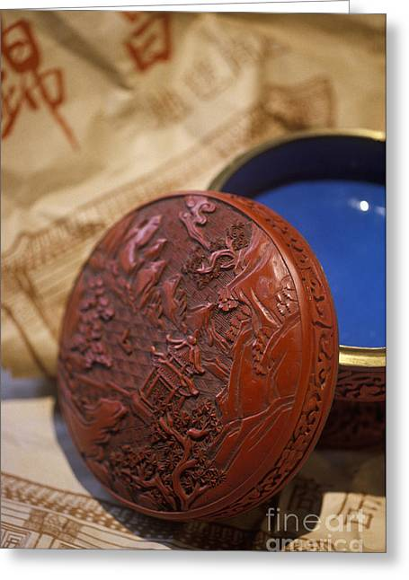Lacquer Greeting Cards - Chinese Red Lacquer Bowl Greeting Card by Will & Deni McIntyre