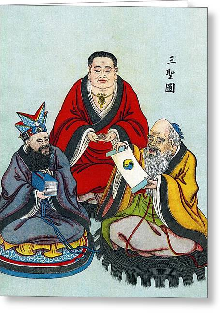 Chinese Religious Leaders Greeting Card by Sheila Terry