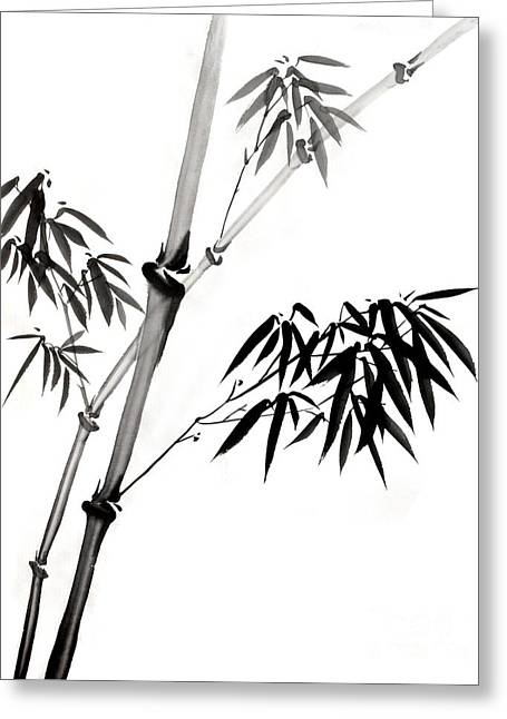 Graceful Drawings Greeting Cards - Chinese Stye Bamboo Painting Greeting Card by Evelyn Sichrovsky