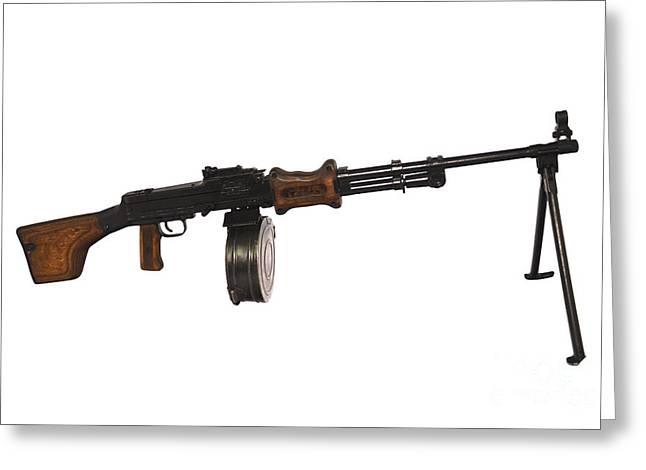 Bipod Greeting Cards - Chinese Type 56 Light Machine Gun Greeting Card by Andrew Chittock