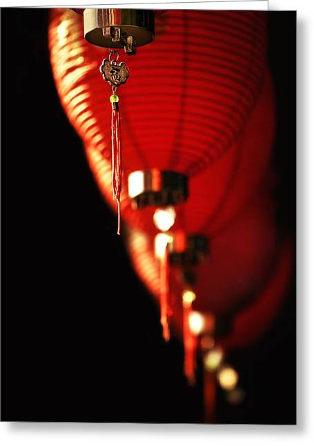 Night Lamp Greeting Cards - Chinese Whispers Greeting Card by Evelina Kremsdorf