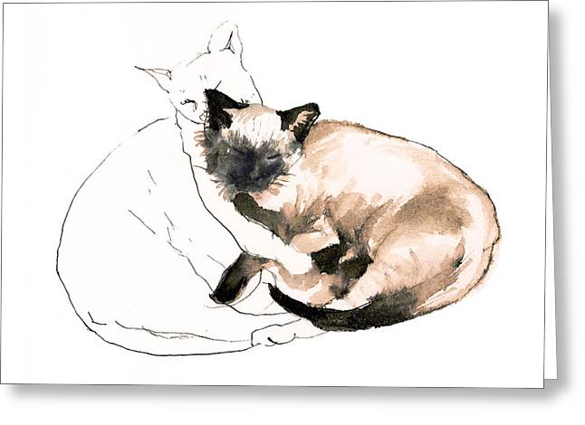 Siamese Cat Print Greeting Cards - Chinky and Chang   Greeting Card by Roz McQuillan