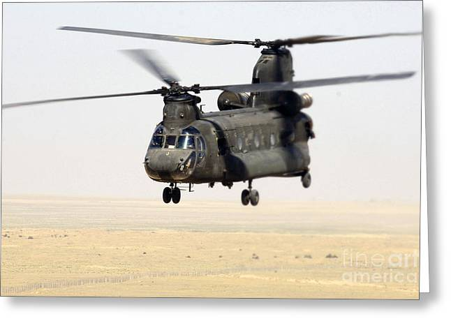 Iraq Greeting Cards - Chinook Cargo Helicopter Greeting Card by DOD/Science Source