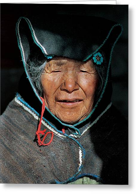 Indigenous Greeting Cards - Chipaya culture grandmother. Department of Oruro. Republic of Bolivia. Greeting Card by Eric Bauer