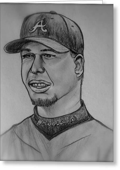 Chipper Greeting Cards - Chipper Jones Greeting Card by Pete Maier