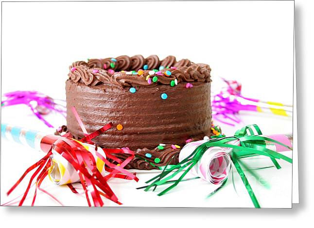 Streamer Greeting Cards - Chocolate Cake Greeting Card by Darren Fisher