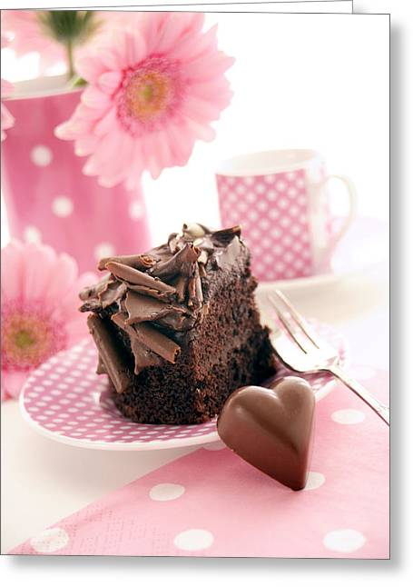 Tea Party Greeting Cards - Chocolate Cake Greeting Card by Erika Craddock