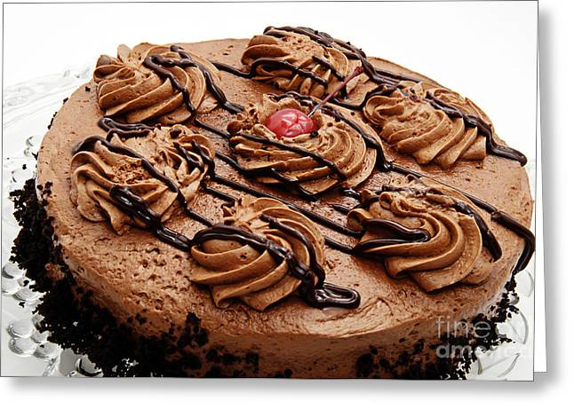 Crumbs Greeting Cards - Chocolate Cake With A Cherry On Top 2 Greeting Card by Andee Design