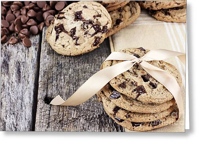 Ready-to-eat Greeting Cards - Chocolate Chip Cookies and Chocolate Chips Greeting Card by Stephanie Frey