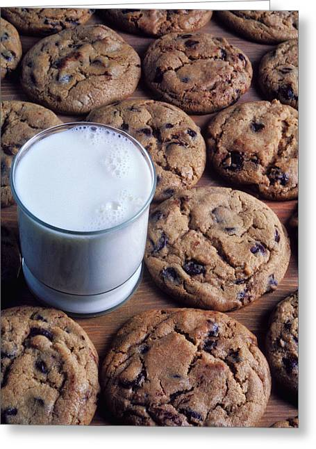 Chocolate Photographs Greeting Cards - Chocolate chip cookies and glass of milk Greeting Card by Garry Gay