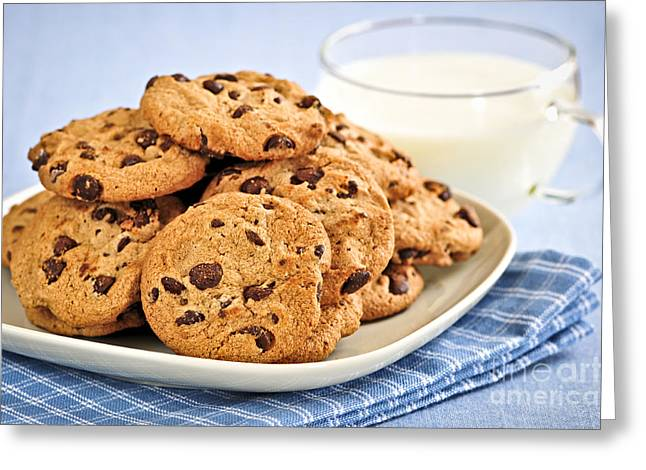 Junk Greeting Cards - Chocolate chip cookies and milk Greeting Card by Elena Elisseeva