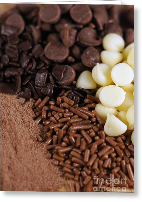 Cocoa Powder Greeting Cards - Chocolate Chips Greeting Card by Penny Rumbelow